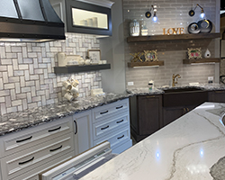 Custom Kitchen with a beautiful kitchen banquet built into the center island.