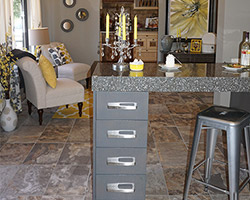 Porcelain tile with a brown and grey patterns featured with Minera Cambria Sparkled top to sway towards the Grey.